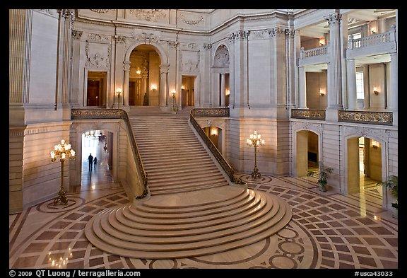 Grand staircase inside City Hall. San Francisco, California, USA